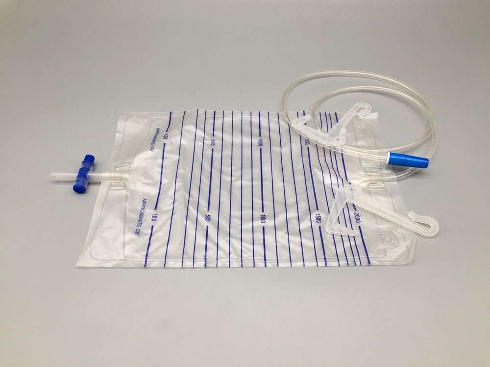 Urine bag with plastic hanger